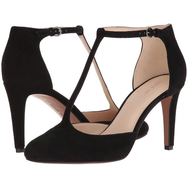 Nine West Halinan (Black Suede) High Heels ($40) ❤ liked on Polyvore