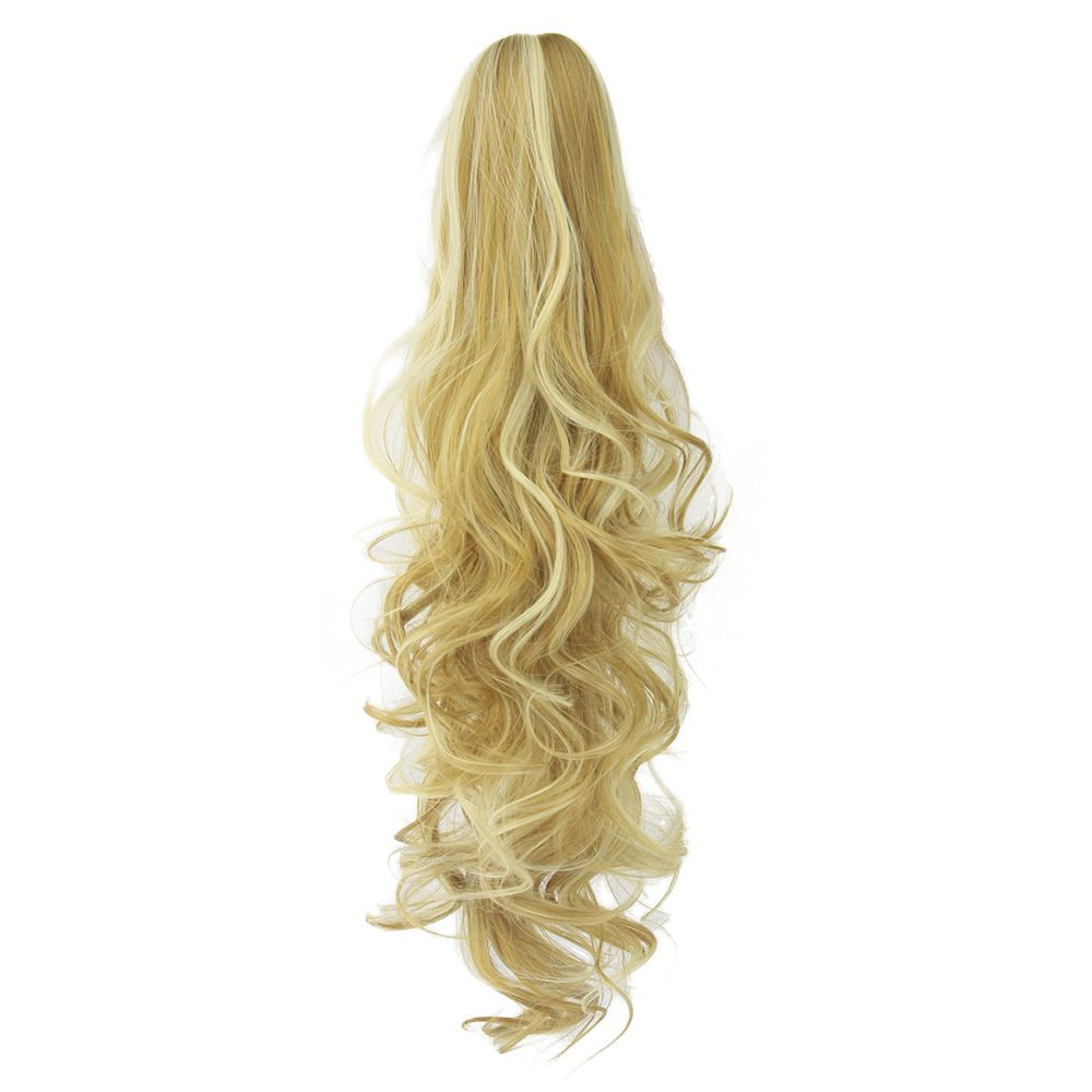 Soowee long wavy clip in hair piece extensions blonde black pony