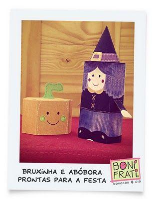 BoniFrati: Paper toys Bruxinha e Abóbora para o Halloween