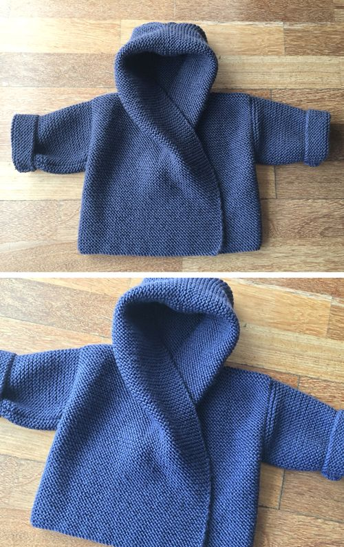 Baby Hooded Wrap Cardigan - Knitting Pattern #knittingprojects