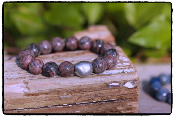 12mm Sesame Jasper and Silver Plated Nugget by ShortDogJewelry