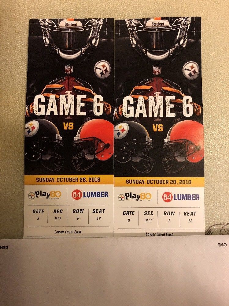 Wholesale 2 Pittsburgh Steelers Cleveland Browns Tickets 10 28 18 Section 217  supplier