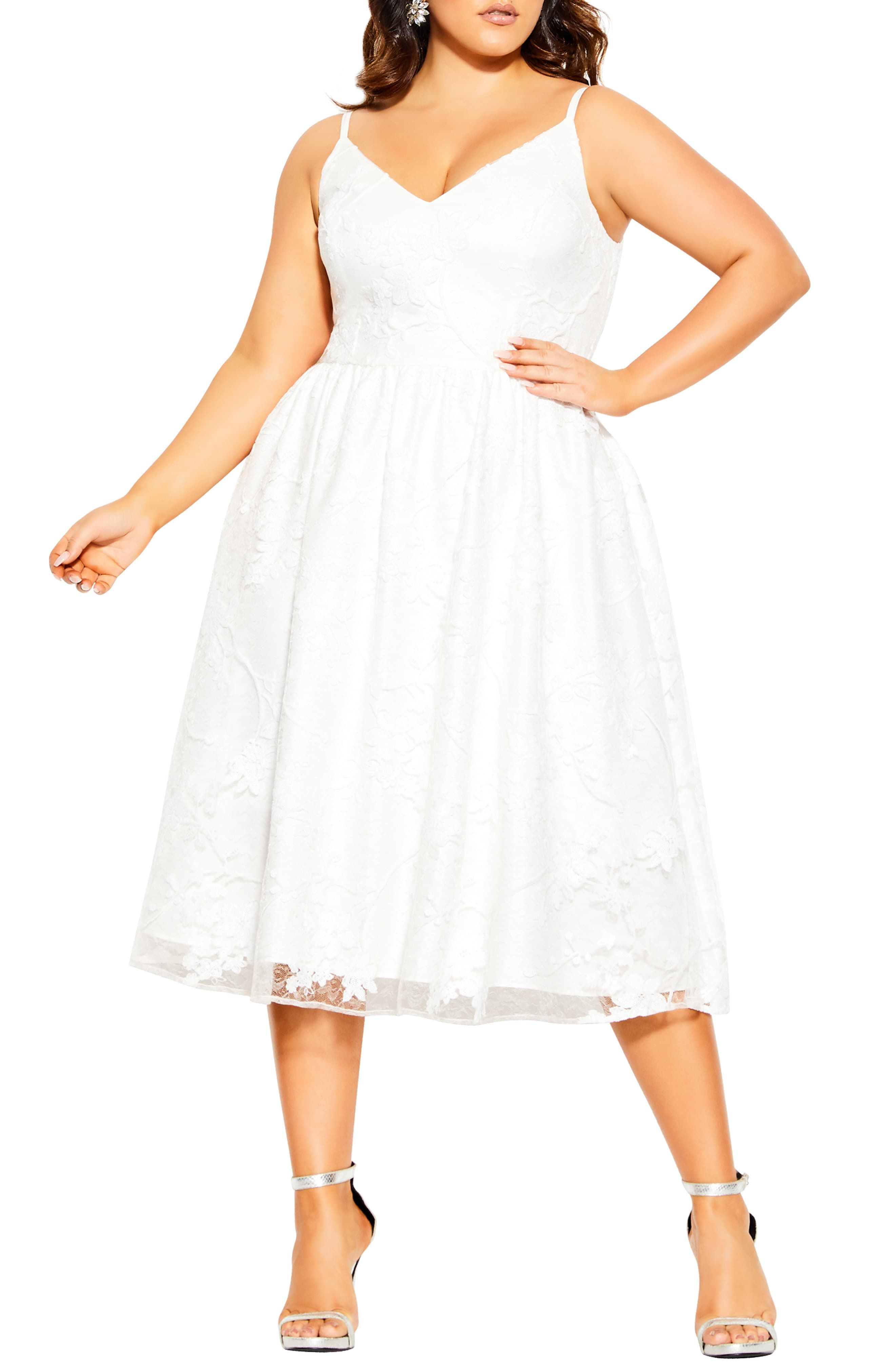 City Chic Sequin Flower Fit Flare Dress Available At Nordstrom Fit Flare Dress Simple White Dress Dresses [ 4048 x 2640 Pixel ]
