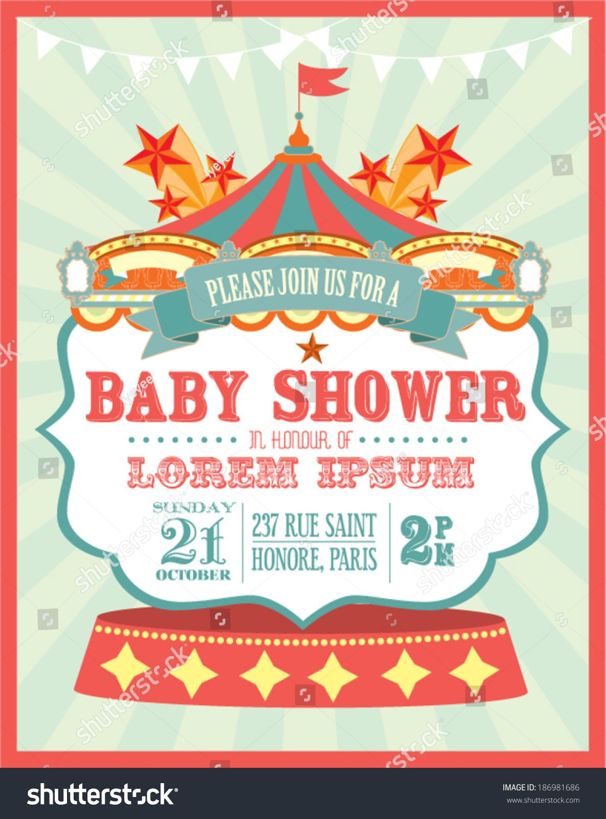 carnival baby shower invitation card template vector/illustration