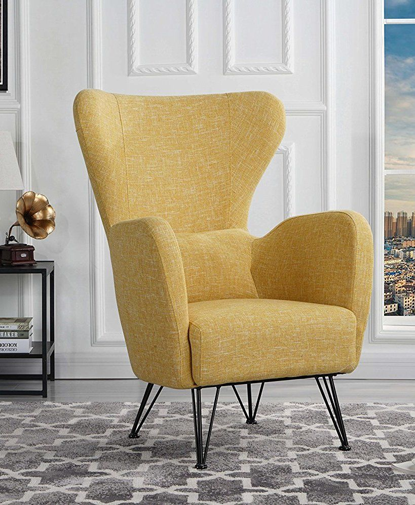 Mid Century Modern Linen Fabric Accent Armchair With Shelter Style