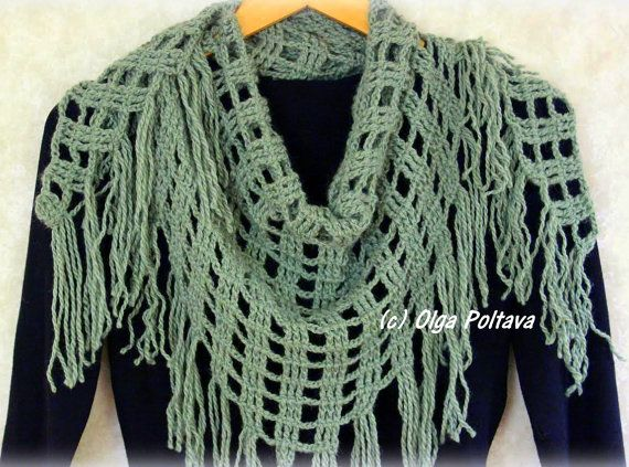 Triangular Scarf Crochet Pattern, Winter Shawl, Crochet Scarf ...