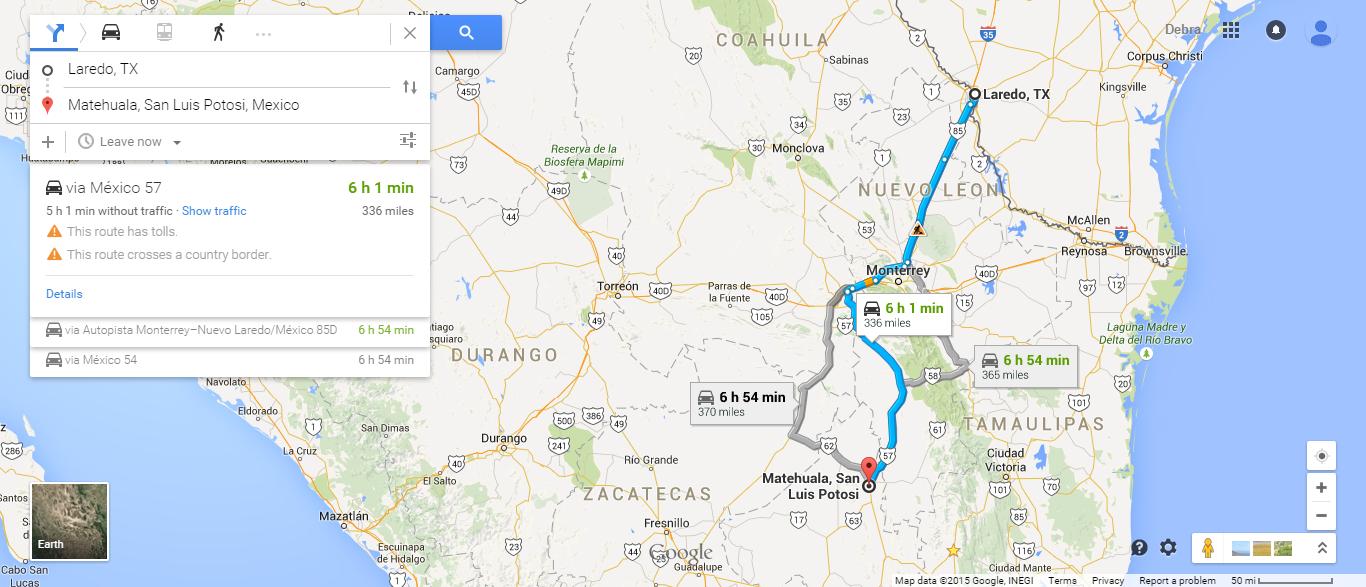 Laredo, TX to Matehuala, San Luis Potosi, Mexico - Google ...