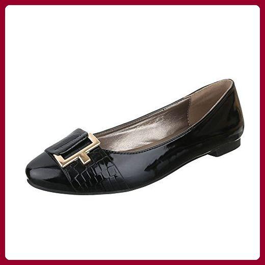 Ital-Design Ballerinas Damen-Schuhe Geschlossen Blockabsatz Blockabsatz Ballerinas Schwarz, Gr 36, 17-M52035A-