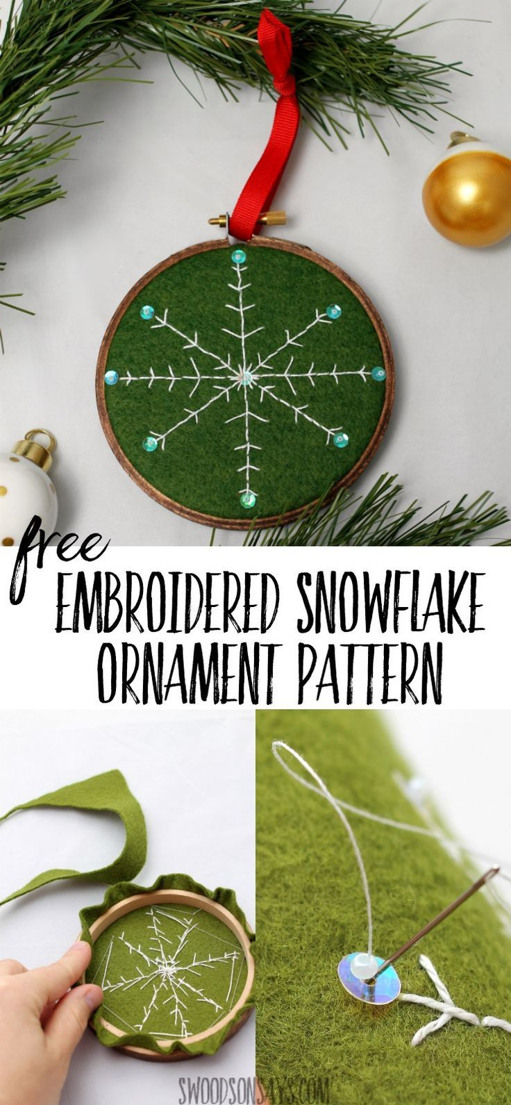 Free snowflake embroidery pattern & ornament tutorial