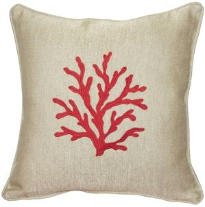 Sea Coral in Red 17x17 Throw Pillow from Pillow Decor