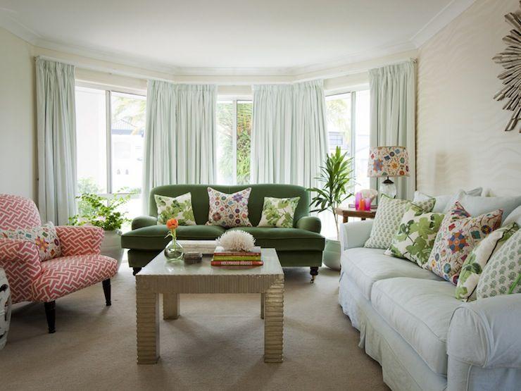 White Slipcover Eclectic Green Velvet Coral
