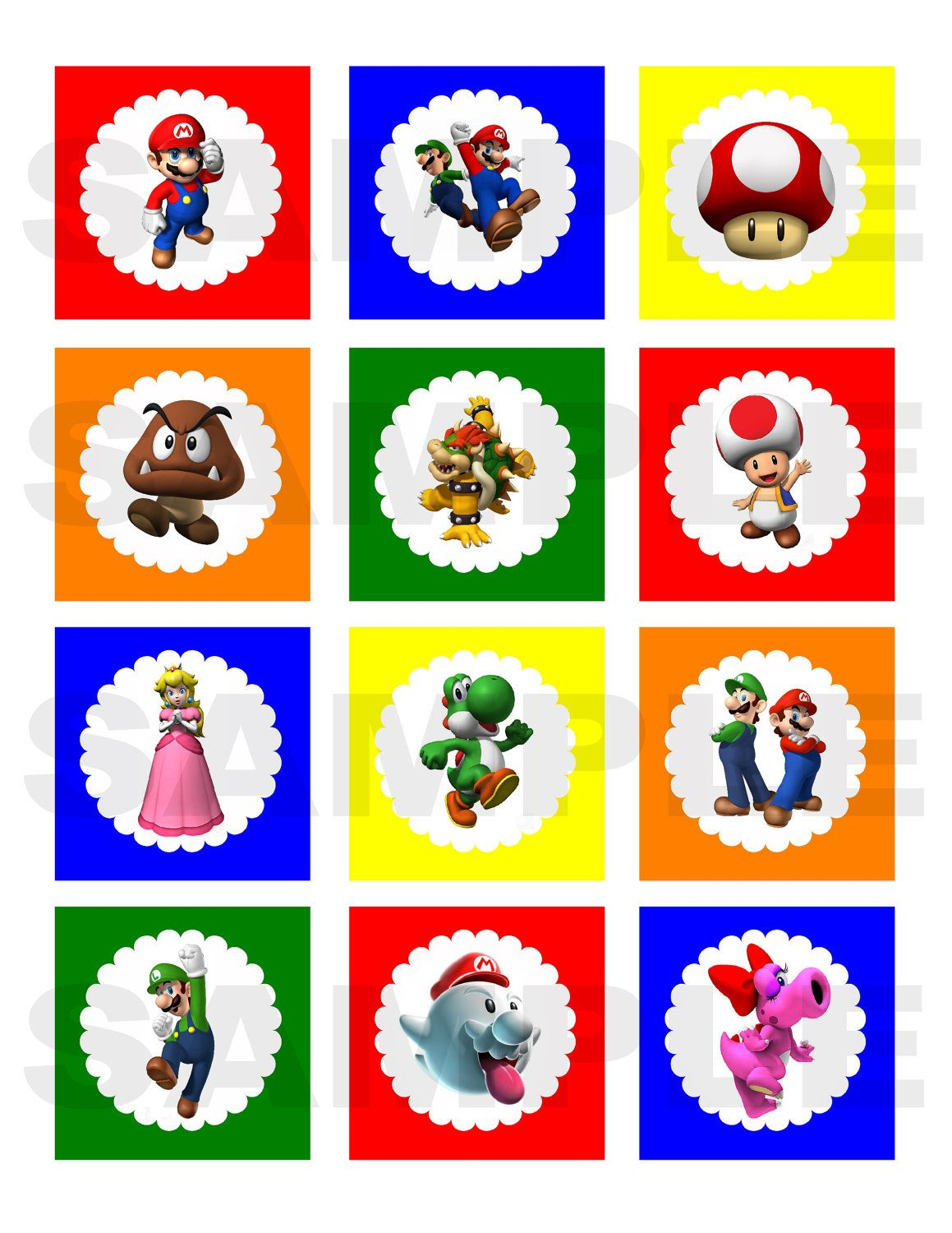 Super Mario Bros Inspired Printable Cupcake By
