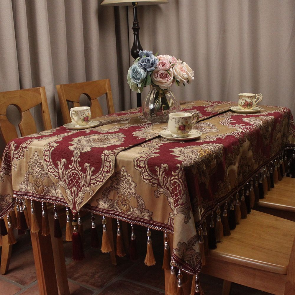 Wine Red Europe Classic Elegant Table Cloths For Home Dinning