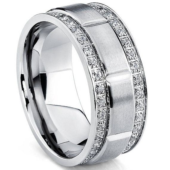 Anium Cz Wedding Band Mens Ring 9mm Men S With Double Row Cubic Zirconia Comfort Fit Sizes 8 To 13