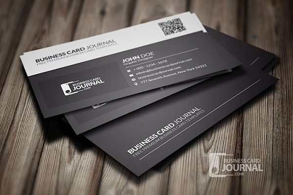 Clean And Stylish Black And White Business Card With Qr Code Available Fo Free Business Card Templates Qr Code Business Card Professional Business Card Design