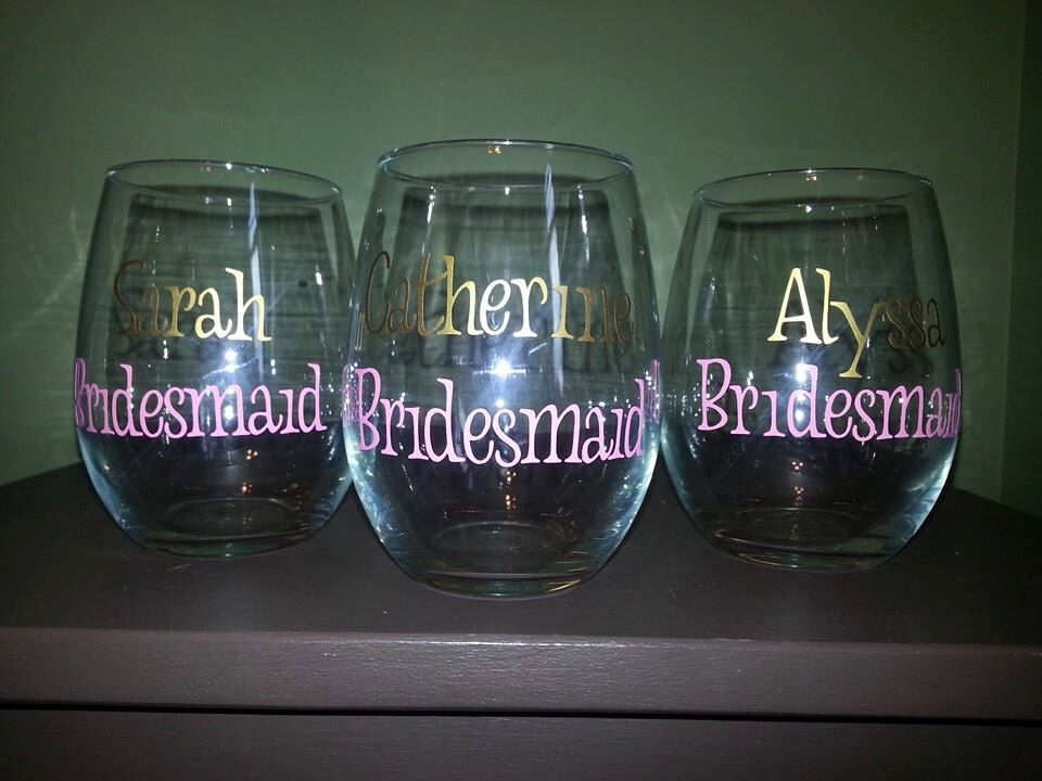 Bridesmaid; Maid of Honor; Mother of the Bride, Mother of the Groom Stemless Wine Glasses; Wedding Party Gift(s); Wedding Party Present(s) by ByJusteenCrafts on Etsy https://www.etsy.com/listing/205382206/bridesmaid-maid-of-honor-mother-of-the