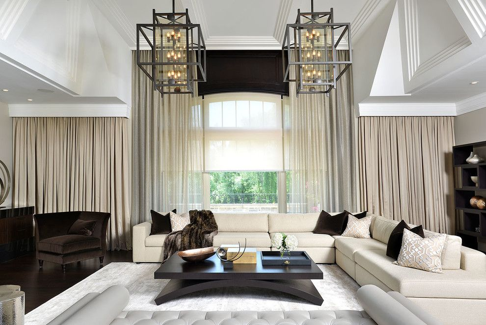 Magnificent Center Table look Toronto Contemporary Family Room Decorators with area rug corner chair cornice curtain panels fur ornamental ceiling pendant lights pillows sectional