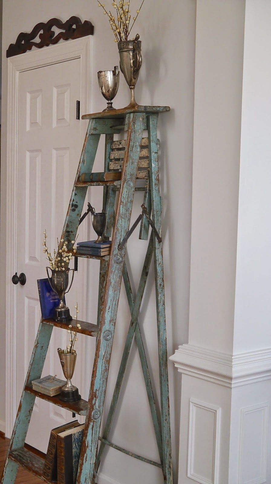 Chateau chic using a tall vintage ladder mommys board