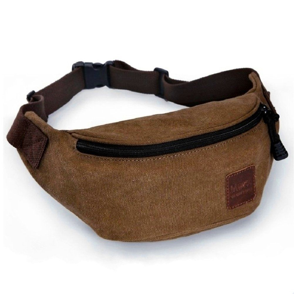Ibagbar Small Vintage Durable Canvas Waist Bag Fanny Pack Running Pack Outdoor Bag Runner Waist Pack Sport Bag Cycling Leisure Bag for Men and Women Brown