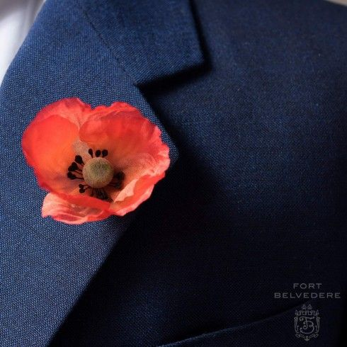 Orange Red Poppy On Lapel Perfect For Remembrance Day Veterans