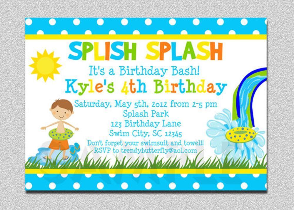 4th Swiming Pool Birthday Invitations Wording For Kids | Birthday ...
