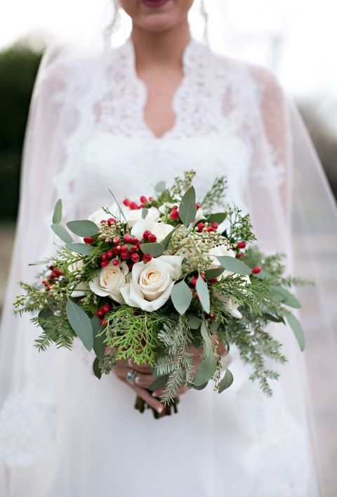 Pretty Christmas Wedding Bouquet White Roses Winter Greenery Red Berries