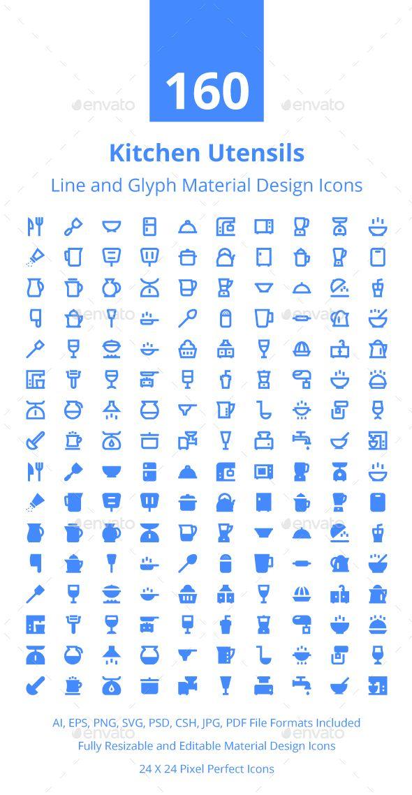 160 Kitchen Utensils Material Icons Desain