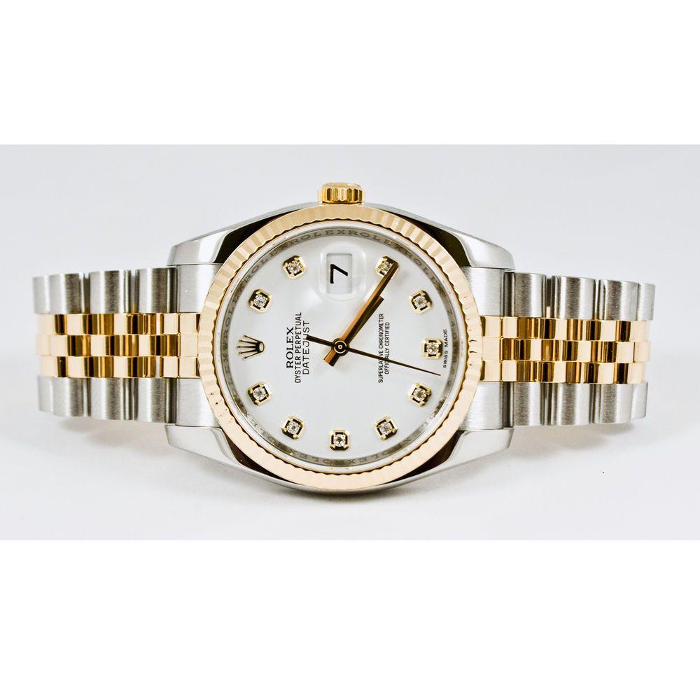 Rolex Mens 36mm Steel & 18k Gold Datejust Model 116233 Custom White Diamond Dial