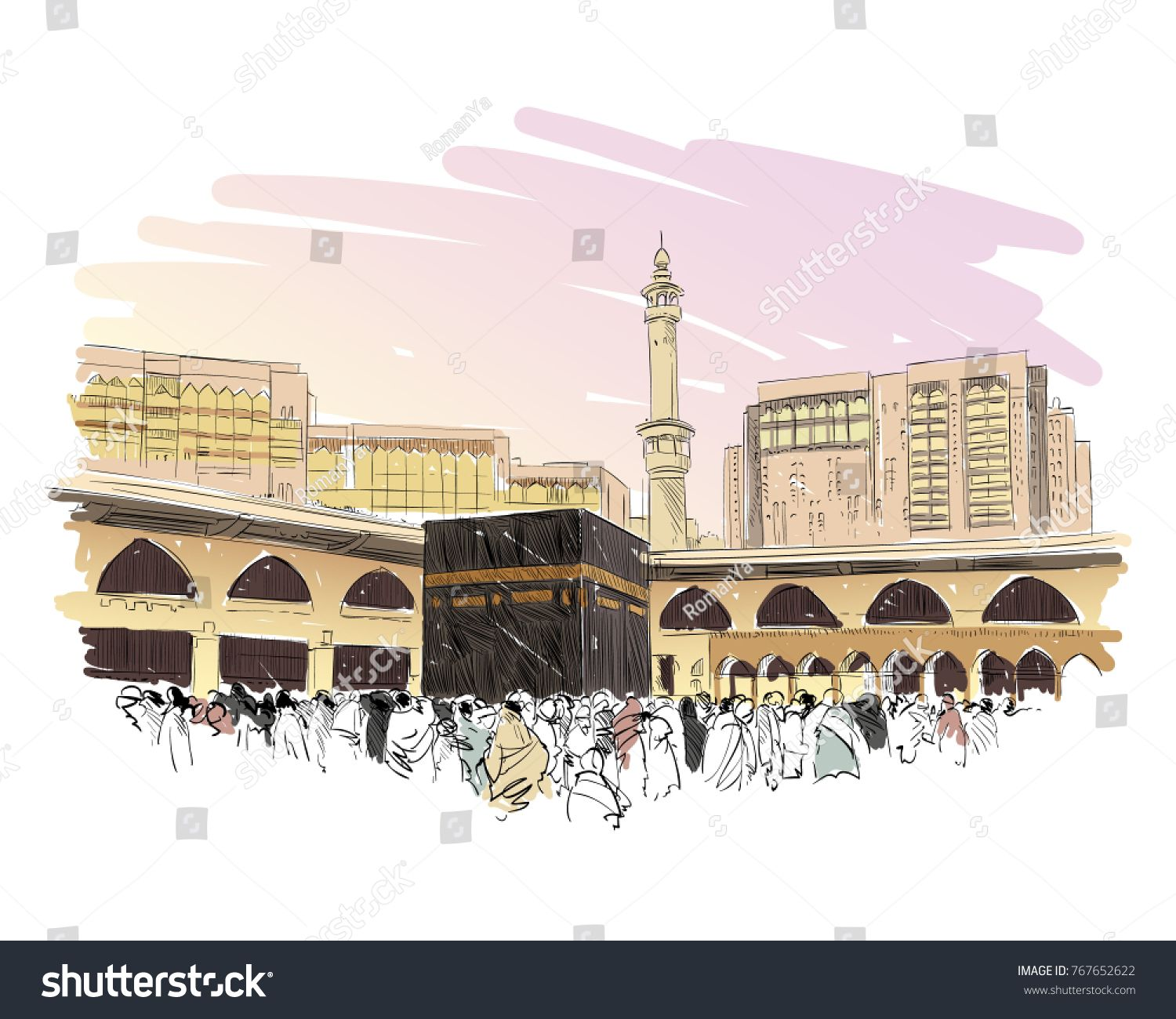 Mecca Saudi Arabia Hand Drawn Sketch Vector Illustration Sponsored Spon Arabia Hand Mecca Saudi In 2020 Mecca How To Draw Hands Pictures