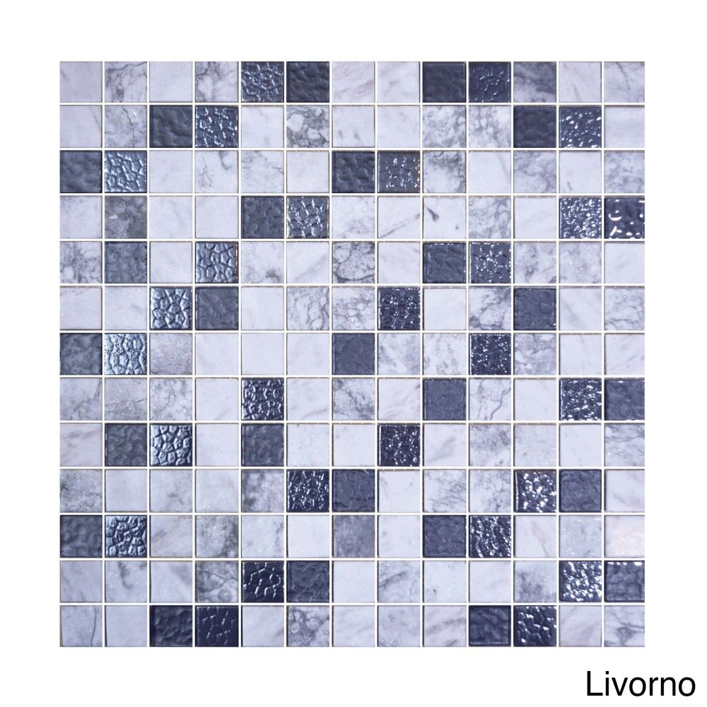 Emrytile 13.1-inch Onix Cosmic Glass Mosaic Tile Sheets (Pack of 5 ...