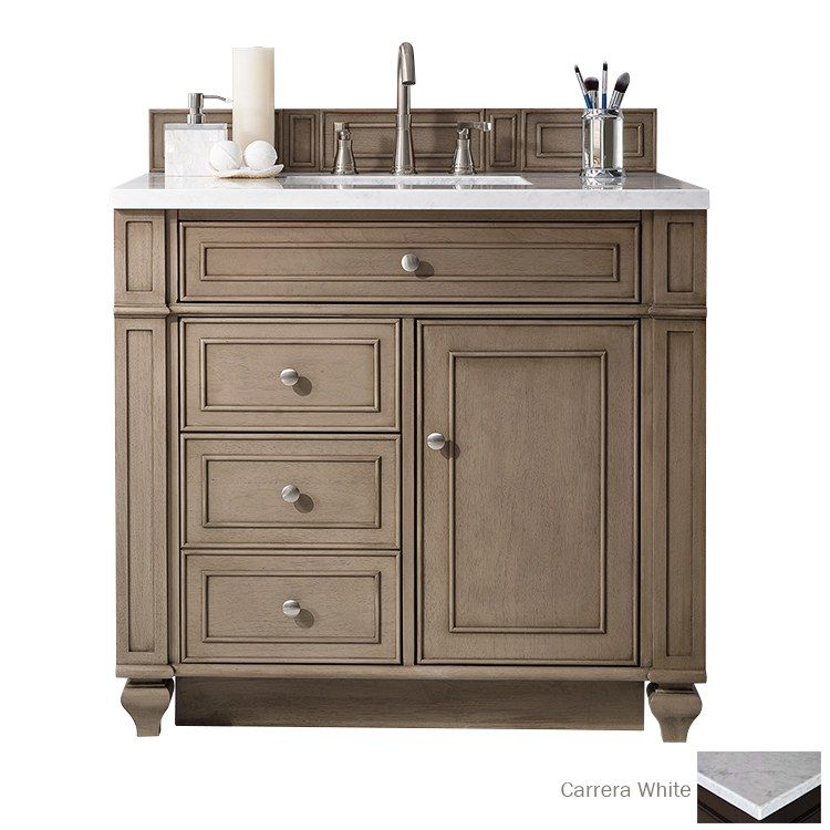 Bristol 36 White Washed Walnut Single Vanity Without Top Single