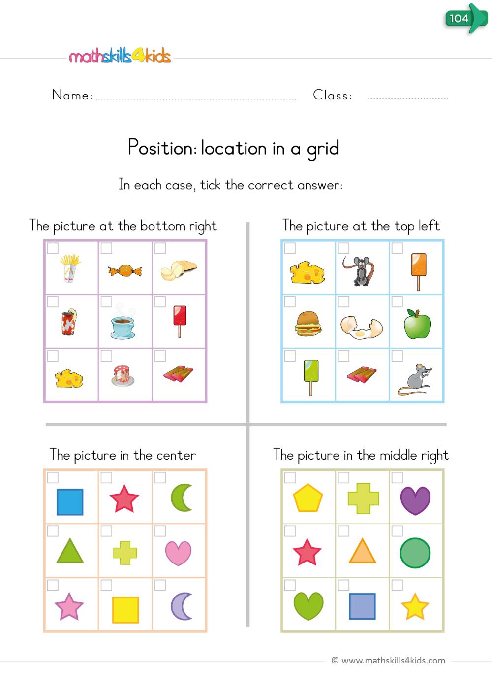 Position Location In A Grid Kindergarten Worksheets Kids Math Worksheets Positional Words Kindergarten