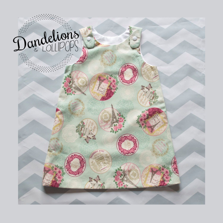 Girls A Line Dress • Paris Print Fabric • Age 2 • Mint Green