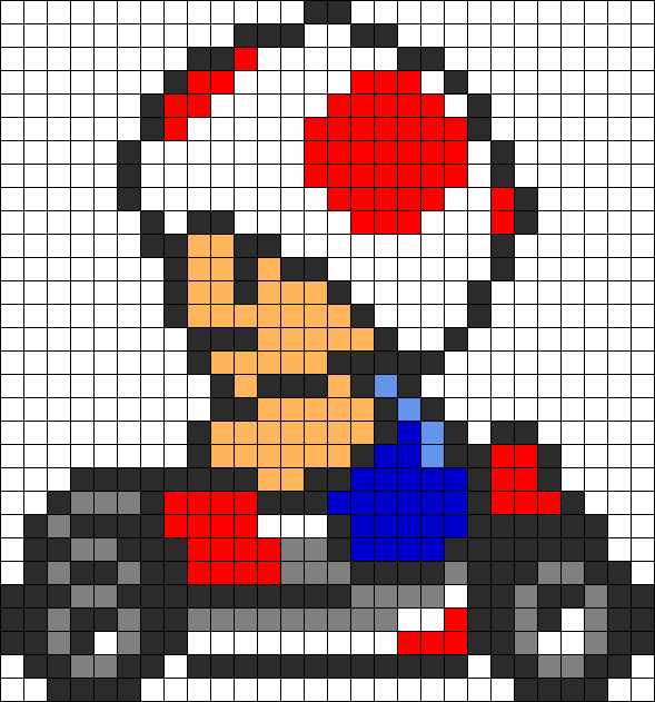 Mario Kart Toad Perler Bead Pattern   Bead Sprites   Characters Fuse ...