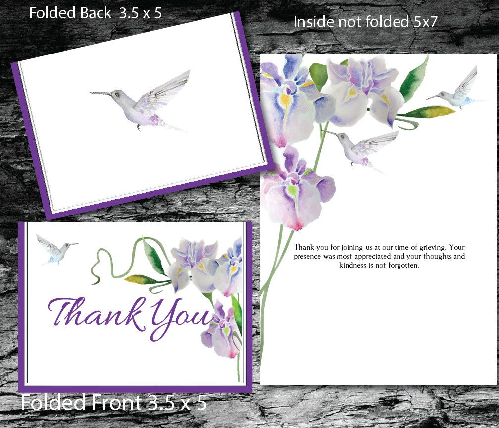 Printable Funeral Folded 3 5 X 5 Thank You Card Memorial Thank