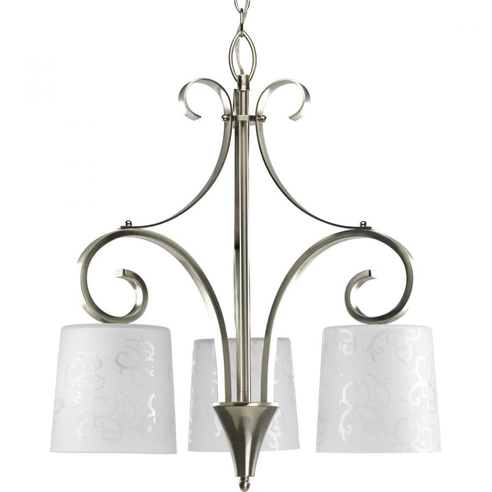 Three light brushed nickel down chandelier p4448 09 denney three light brushed nickel down chandelier p4448 09 denney lighting design mozeypictures Choice Image
