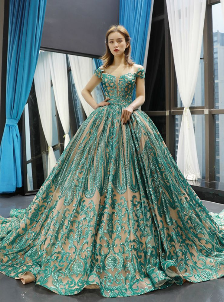 Green ball gown sequins off the shoulder wedding dress