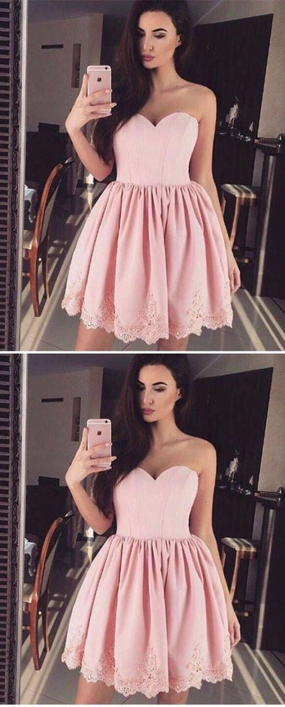 Short homecoming dress pink homecoming dress sweetheart homecoming
