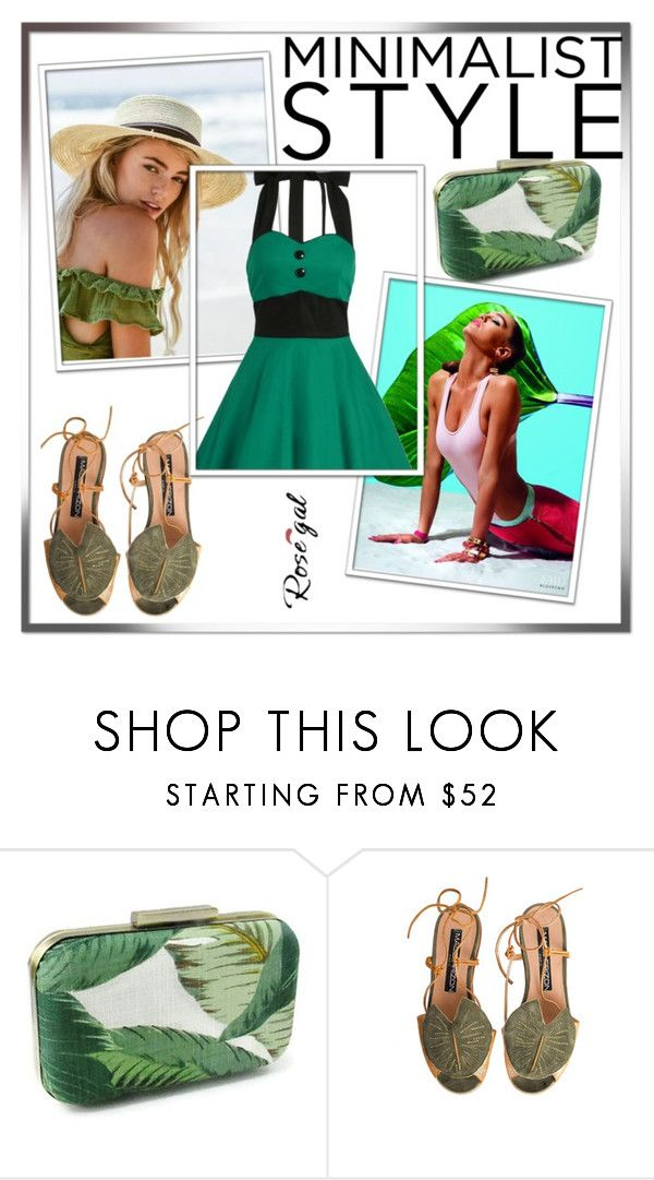 """""""Rosegal  Vintage Contrast Halter Flare Dress"""" by dzenanlevic99 ❤ liked on Polyvore featuring vintage"""