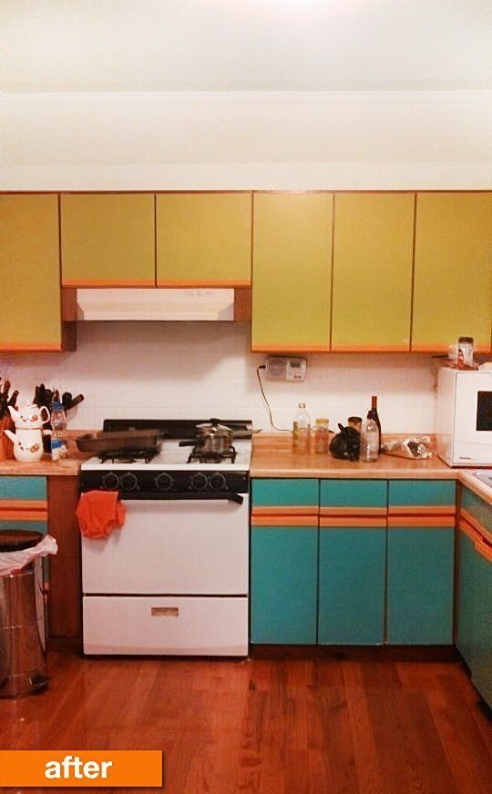 lovely Painting Pressboard Kitchen Cabinets #5: Before After Plain Particleboard Cabinets Get A Cheery Spring