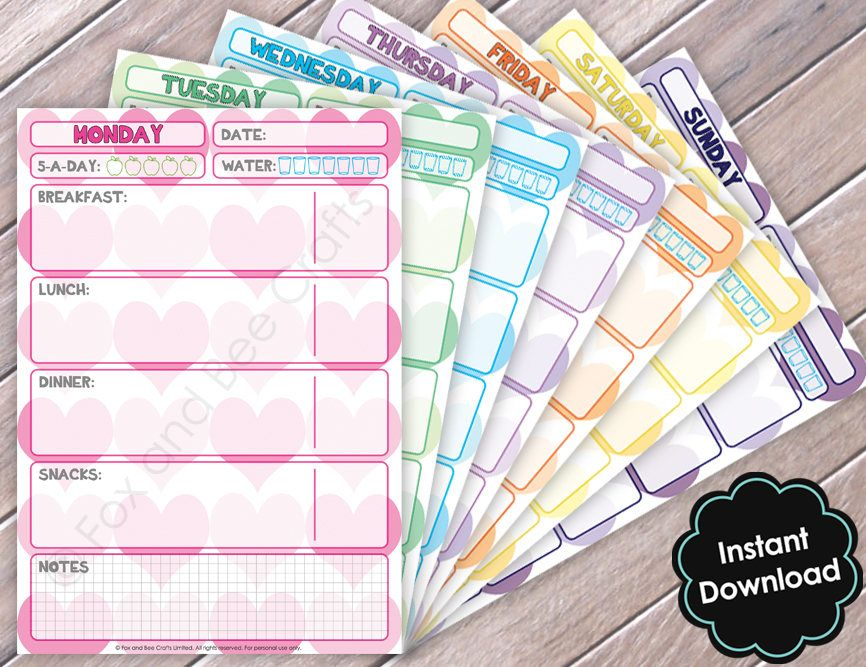 printable daily food diet sheets heart design food diary a5