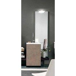 Mobile #bagno moderno tower appoggio L 50 con specchio e lamapada - art 298 #arredobagno #pietra