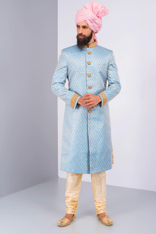 Image result for blue brocade sherwani