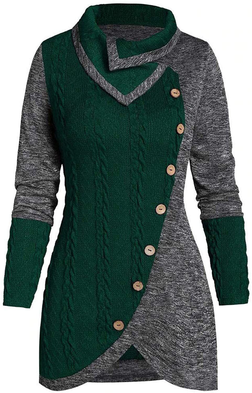 Kstare Plaid Sweatshirts for Women Turtleneck Pullover Sweatshirt Long Sleeve Splicing Lightweight Tunic Top Tops