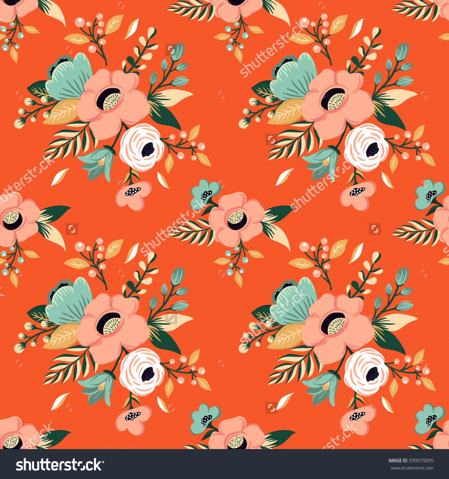 Seamless flower pattern. Colorful vintage floral