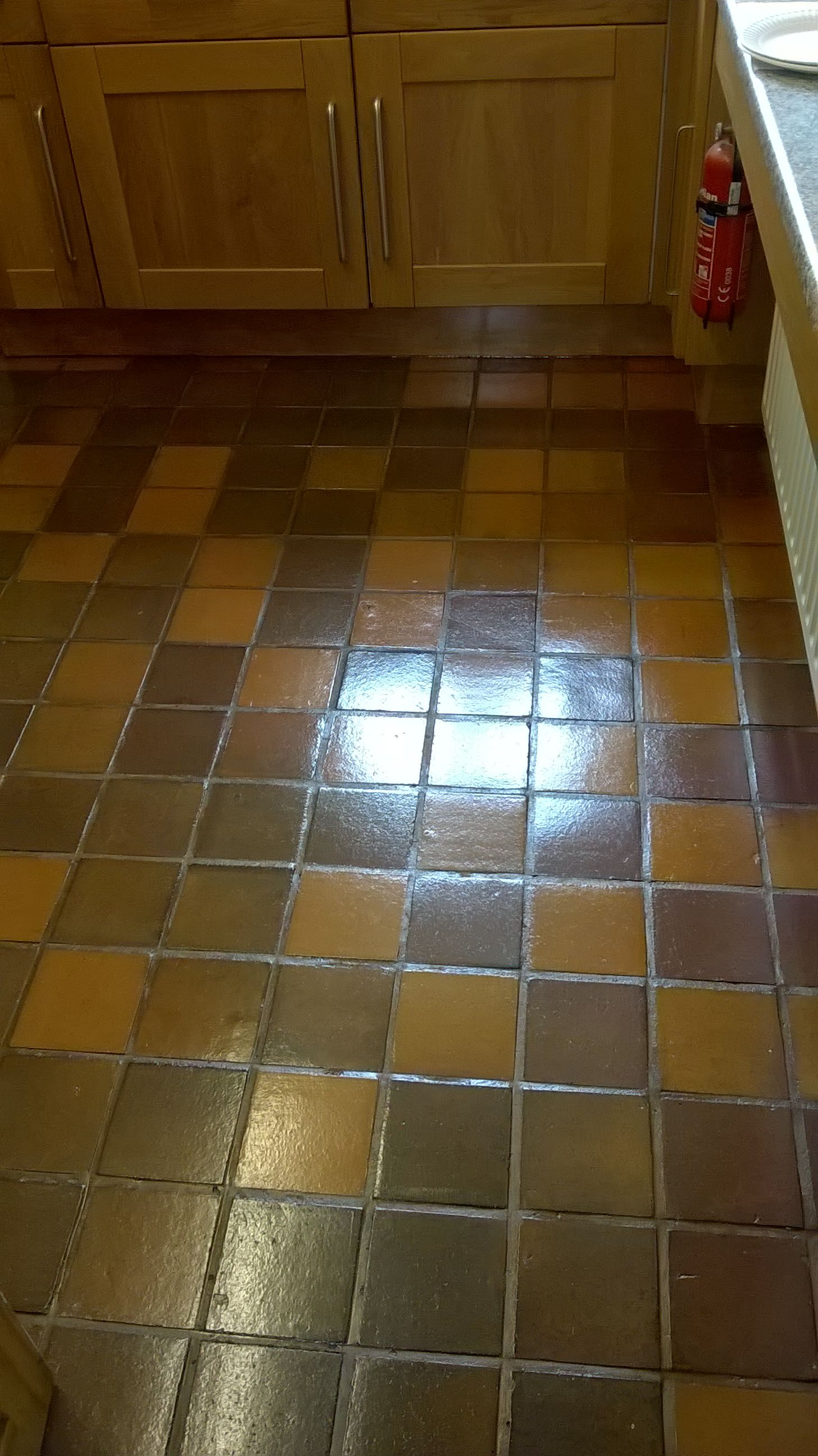 This Quarry Tiled Kitchen Floor Was In Very Good Condition