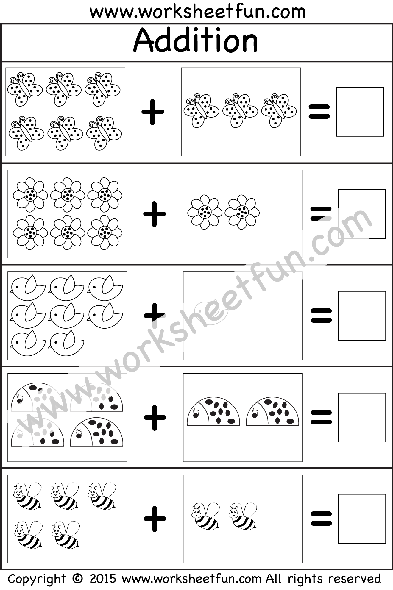 Kindergarten Addition Worksheet