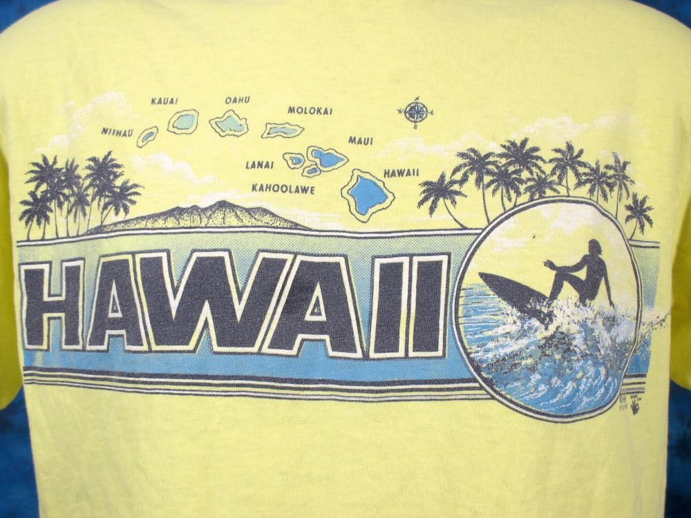 vintage 80s HAWAII SURF CUT-OFF BELLY BUTTERY SOFT T-Shirt M beach skate thin #GraphicTee