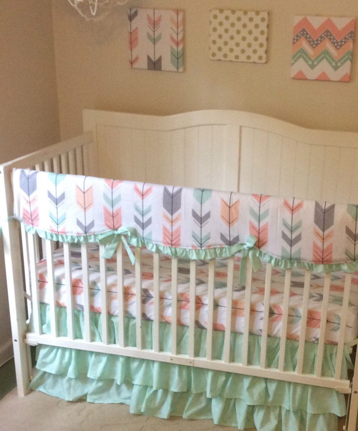 Crib bedding set gray white navy blue with by butterbeansboutique - Mint Peach Coral And Gray Arrows Ruffled Crib Bedding Set