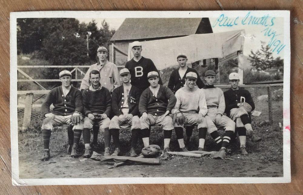 Paul Smiths College Baseball Team RPPC Adirondacks Saranac player-mailed 1911